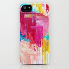 ELATED - iPhone 4 5 5s 5c 6 6s Case Samsung Case Bold Hot Pink Raspberry Peachy Vibrant Abstract Acrylic Pattern Clouds Sky Nature Painting (39.00 USD) by EbiEmporium