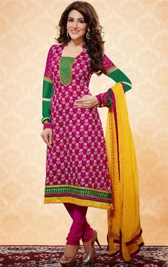 Picture of Tantalizing Green, Magenta and Pink Casual Salwar Kameez