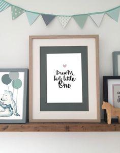 """Kinderzimmerdekoration - Kinderzimmer Poster """"DREAM rosa"""" A4 - ein Designerstück von Heimwerk_Design bei DaWanda"""
