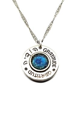 Gratitude Coin by David J. Coin Necklace, Washer Necklace, Pendant Necklace, David J, Thoughtful Gifts, Special Gifts, Gratitude, Turquoise Necklace, Coins