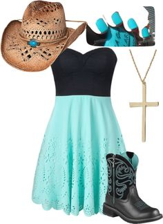 """Cowgirl Up"" by bellalee2000 on Polyvore. No hat maybe the boots and I think white nails. Would be perfect"
