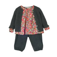 make lots of liberty blouses and linen bloomers for baby.  layer with sweaters and tights for winter.