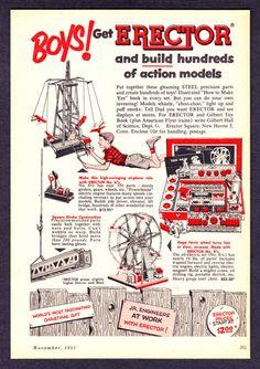 "1953 Gilbert Toys Erector Set art ""Jr. Engineers At Work"" Xmas vintage print ad"