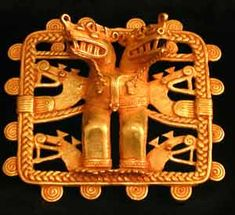 Carbonera Gold Pendant of a Shaman Wearing a Double-Headed Saurian Mask -  Origin: Costa Rican/Panamanian Border Area Circa: 500 AD to 1550 AD