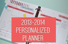 2013-2014 Personalized Planner - Monthly Calendars - Weekly Planner - Meal Planner - Notes - Printable - FAST DOWNLOAD on Etsy, $16.00