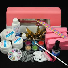 9W UV Lamp Nail Art Glitter Powder UV Top Coat Gel Tips File Block Tools Kit Set #Unbranded