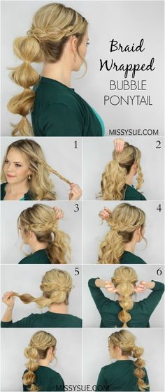 Missy Sue. Her braid wrapped bubble ponytail. Tutorial.
