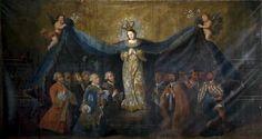 Patrocinio de la virgen (anónimo, siglo XVIII). Capilla de la Concepción de la Catedral de Cuautitlán, Estado de México. El indígena en el imaginario iconográfico.