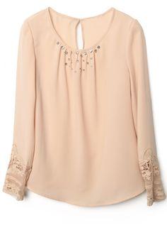 Pink Long Sleeve Cuff Lace Beading Chiffon Blouse
