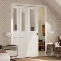 Twin Telescopic Pocket Malton Shaker Door - Clear Glass.    #telescopicdoors  #pocketdoors  #moderndoors