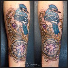 #rococo #bluejay #pocketwatch #jennakerr #debilinthedetail #tattoo #ink Fake Tattoos, Cool Tattoos, Tattoo Ideas, Tattoo Designs, Blue Jay, Tattoo Ink, Rococo, Tatting, Awesome