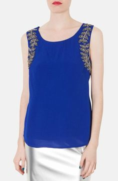 Topshop Beaded Cutout Tank available at #Nordstrom