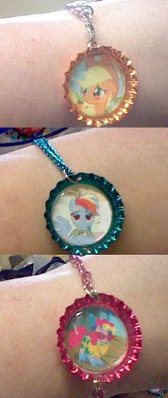 Apple Jack, Rainbow Dash, Pinkie Pie bottle cap bracelets