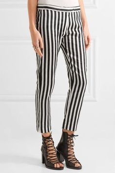 Ann Demeulemeester - Cropped Striped Satin-twill Slim-leg Pants - White - FR44