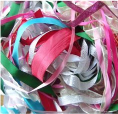 Mixed Bag of Ribbon Offcuts - will use these for weaving with