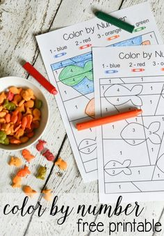 This color by number activity is a perfect way to get a little number practice in while enjoying an after-school snack of Goldfish crackers!