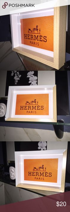 Hermes textured print with box frame Hermes Paris textured high gloss Print with deep box picture frame. 😻🙀 Print measures 4x6 & comes with the picture frame, frame can stand alone , art easel lean or hang on wall. Great on a desk , in a closet , on a nightstand. Even in the bathroom 🛀. Show your sense of fashion & style beyond your wardrobe !!! Hermes Other