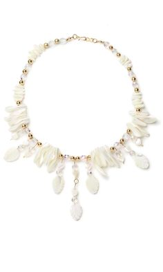 Single-Strand Necklace with Mother-of-Pearl Shell Beads and Gold-Plated Metal Beads - Fire Mountain Gems and Beads