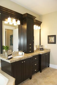Master Bathroom Cabinet Between Sinks