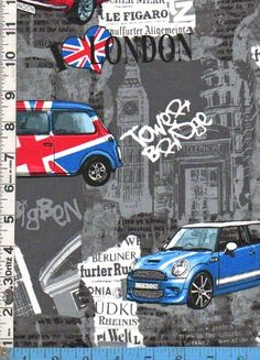 Benartex London Mini Cooper Union Jack - International Cultures, Musical Fabrics