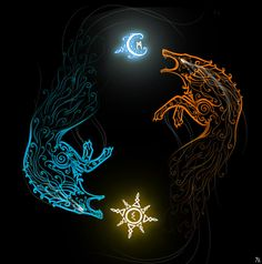 Skoll and Hati, known to be myths, But for three vikings thats not tr… Fenrir Tattoo, Norse Tattoo, Viking Tattoos, Norse Mythology Tattoo, Werewolf Mythology, Druid Tattoo, Yggdrasil Tattoo, Viking Tattoo Symbol, Warrior Tattoos