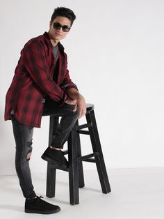 s.Oliver Red & Black Checked Casual Shirt