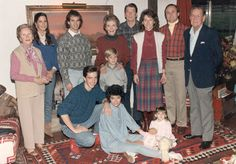 President Ronald Reagan poses for a photo with first lady Nancy Reagan and their family at Rancho del Cielo near Santa Barbara, California, on November 28, 1985.