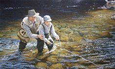 """The Touch"" Fly fishing art print by artist Scott Kennedy."