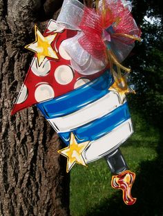 Fourth of July Fireworks Door hanger In Stock by BluePickleDesigns, $45.00