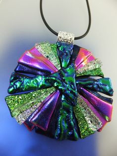 LARGE CRAZY DAISY in PURPLE GREEN - Handmade Dichroic Glass Pendant & Fancy Bail by Cheryl Smith