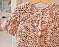 Crochet PATTERN Falling Leaves Cardigan sizes baby up to 8 #ChildrenShrug