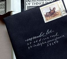 { white ink on black envelopes } GAH! Should have done this for wedding invitations! Wedding Invitation Trends, Wedding Stationery, Handwritten Text, Calligraphy Envelope, Fake Calligraphy, Envelope Addressing, Wedding Calligraphy, Black Envelopes, Invitation Envelopes