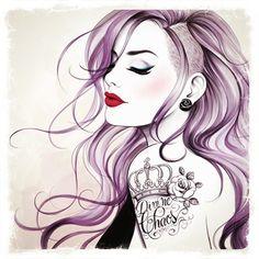 Punk girl with tattoo - A Sketch Series by Tati Ferrigno #punk #purple #tattoo. crown w. Lilly tat
