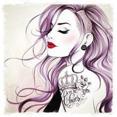 Punk girl with tattoo - A Sketch Series by Tati Ferrigno #punk #purple #tattoo. crown w. Lilly tat