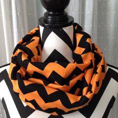 MLB Orange and Black Chevron Infinity Scarf - Baltimore Orioles, Detroit Tigers, Miami Marlins, San Francisco Giants