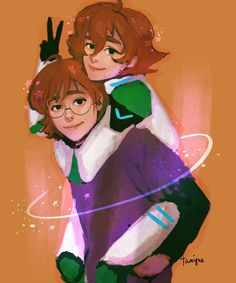 Pidge the Green Paladin and her brother, Matt Holt from Voltron Legendary Defender
