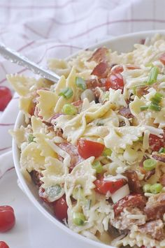 BLT Pasta Salad is the perfect summer side dish for your next BBQ. It combines the flavors of a favorite sandwich into salad form!!