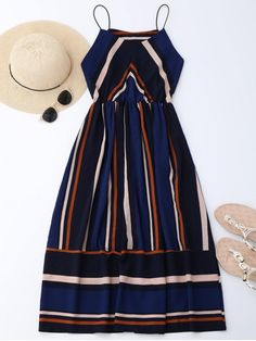 AD : Multi Stripe Cami Midi Sundress - STRIPE A spaghetti straps sleeveless dress features multi stripes print,a flared silhoulette, a midi length and cinthed waist,opt for beachside this season. Style: Brief Occasions: Beach and Summer,Going Out,Night Out Material: Polyester Silhouette: A-Line Dresses Length: Mid-Calf Collar-line: Spaghetti Strap Sleeves Length: Sleeveless Pattern Type: Striped With Belt: No Season: Summer Weight: 0.3200kg