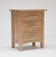 Oak Bedside Cabinet With 3 Drawers - Hereford Oak