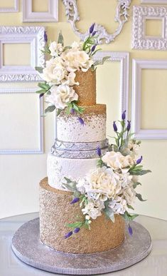 Gold and Silver Glittery Wedding Cake with Soft Blush Roses ᘡղbᘠ