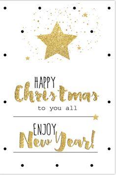 Hippe enkele kerstkaart met gouden ster met hippe handlettering. Gratis verzending in Nederland en België. Cosy Christmas, Merry Christmas And Happy New Year, Christmas Wishes, Merry Xmas, Christmas Greetings, Christmas Holidays, Birthday Wishes Greetings, New Year Greetings, Xmas Quotes