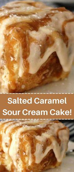 Delicious Cake Recipes, Cake Mix Recipes, Yummy Cakes, Dessert Recipes, Salted Caramel Cake, Caramel Deserts, Sour Cream Cake, Cupcake Cakes, Cookie Cakes