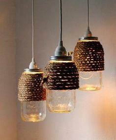 DIY mason jar string lights wrapped in jute rope.