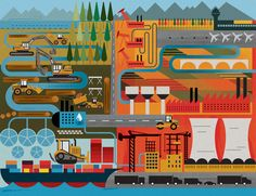 An Illustration for Fortune magazine focusing on emerging markets and investment.  mike lemanski