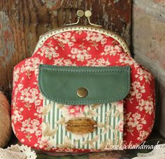 "Loveka Handmade: Кошелек-сумочка с фермуаром ""Полоска, цветы и кожа - 2"""