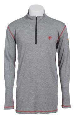 Ariat Work FR Men's Heather Grey Polartec HRC2 1/4 Zip Long Sleeve Flame Resistant Shirt