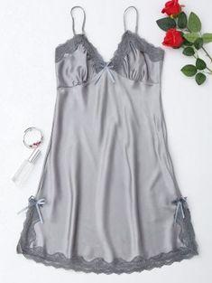 Side Slit Lustrous Satin Slip Dress - Gray M Ropa Interior Babydoll, Pajama Pattern, White Lace Bralette, Cute Sleepwear, Silky Dress, Satin Slip, Beautiful Lingerie, Gray Dress, Nightwear