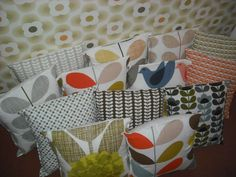 VARIOUS Orla Kiely homemade cushion cover in her bedding range fabric16x16ins