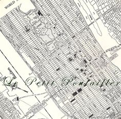 Lower Manhattan New York City 1935 Engraved City Map ... in my shop now!