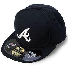 New Era Atlanta Braves Fitted Hat Nea-Atlrd Navy Baseball Cap Mens Size 7 1/2